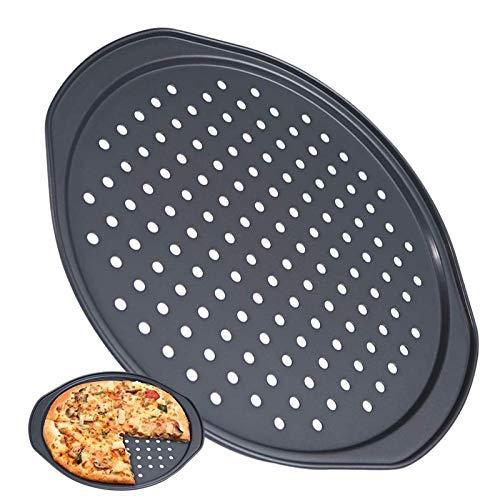 Sisyria Moldes para Hornear Pizza,36 Cm Utensilios para Hornear Antiadherentes, Molde para Pizza con Agujeros, Bandeja Profesional para Hornear Pizza De Corteza Crujiente Redonda