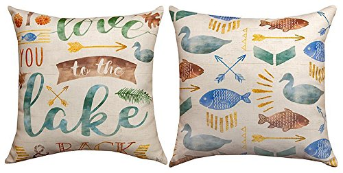 Throw Pillows - to The Lake Indoor Outdoor Reversible Pillow - 18' Square