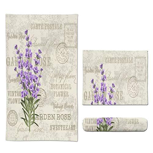 Ouqiuwa Soft Lavender Flowers Elegant Postcard Vintage Hand Towels 27.5x15.7 in Thin Bathroom Towel, Small Bath Cloth Decor Gifts Multipurpose for Bathroom Kitchen Gym Yoga