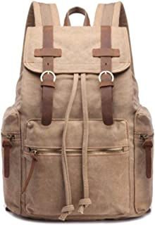Bag Vintage Travel Men Waxed Canvas and Genuine Leather Backpack Canvas Rucksack. XFGBTJKYAUu (Color : Khaki, Size : 19 Inches)