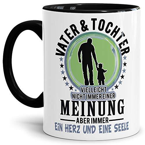 Lustige Tasse mit Spruch für Papa - Vater und Tochter - Kaffee-Tasse/Geschenk-Idee Väter/Vatertagsgeschenk/Geburtstag/Vatertag - Innen & Henkel Schwarz