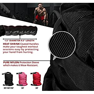 INTENT SPORTS Workout Battle Ropes – Pro Warrior Rope with Anchor Strap Kit, Protective Sleeve - Poly Dacron Power Rope for Fitness, Cardio Strength Training, Workout, Crossfit, Exercise Videos