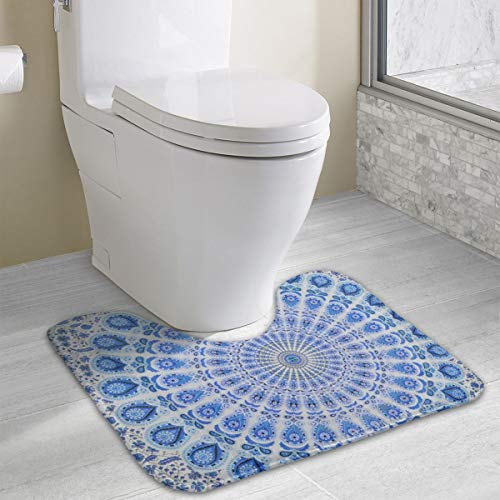 Multi Blue White Boho Style Mandala Toilet Bath Rug Non Slip Bathroom Mat Super Soft Flannel Machine Washable Bath Mats Non Skid Contour U-Shape Carpet Mat Thick Microfiber Floor Rugs Absorbent