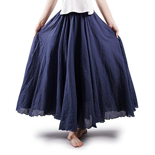 OCHENTA Gonna da donna, lunga, stile bohemienne, con vita elastica, in cotone/lino Blu navy 85 cm