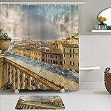 SSZO Juego de Cortinas y tapetes de Ducha de Tela,Vista panorámica del Centro histórico de Roma Desde el Antiguo balcón,Cortinas de baño repelentes al Agua con 12 Ganchos, alfombras Antideslizantes