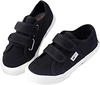 Hopscotch Boys and Girls Cloth Double Strap Sneaker - Black