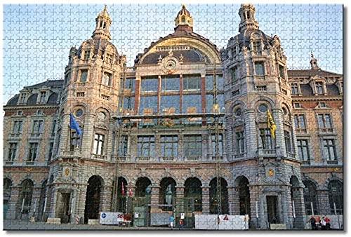 Belgia Antwerpia Dworzec Centralny Puzzle dla dorosłych Dzieci 1000 elementów Rodzinna gra edukacyjna Drewniane puzzle Pamiątki Prezenty