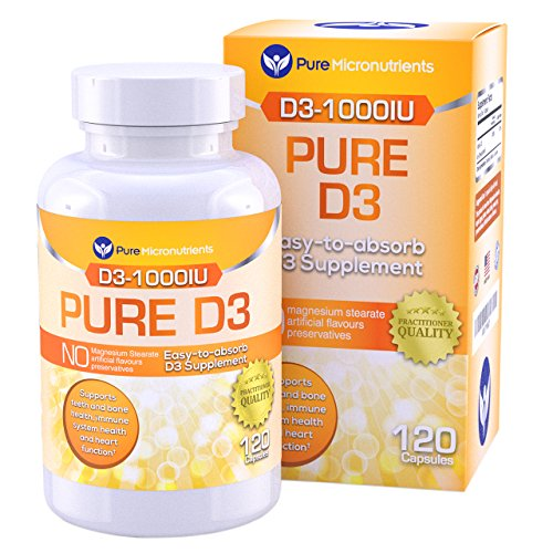 Vitamin D Supplement 1000 IU, Natural D3 Supplements, Premium Grade (Cholecalciferol), for Strong Bones & Immune Function, 120 Count - Pure Micronutrients