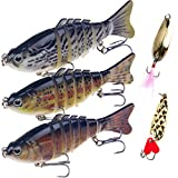 Fishing Lures Bass Lures Set,Fishing Lures for Bass Multi Jointed Swim baits Slow Sinking Hard Lure...