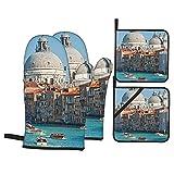 Juego de 4 Manoplas y Porta ollas para Horno,Venecia,Vista del...