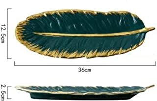 Nwn 2 Dishes Plate Leaf Fish Dish Restaurant Home Creative Nordic Tableware Ceramic Plate Single Dish (Color : B)
