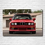 QZHSCYB Supercar Posters Classic BMW M3 Coupe E30 Red Car Wall Art Poster Lienzo Pinturas Impresas para la decoración de la Sala de Estar del hogar -60X80cm 24x32 Pulgadas sin Marco