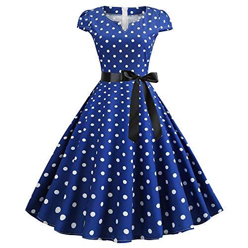 Vestidos De Fiesta Vestir Dress Mujer Niña Vestido De Baile De Fiesta De Noche Retro para Mujer Vestido De Baile De La Década De 1960 con Cinturón Y Cuello En V Doble-Jy14099_XL