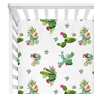 Sahaler Succulents Baby Crib Sheets for Boy Girl, Watercolor Cactus Fitted Crib Bed Mattress Sheets, Boho Baby Gift, Nursery Bedding fits Standard Crib Mattress 28×52″ (Cactus Floral)