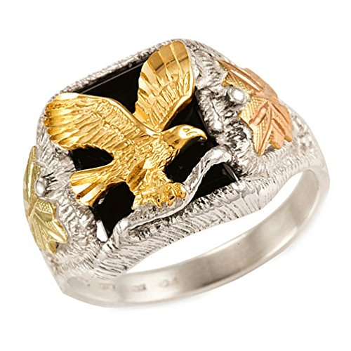 Men's Onyx with Diamond-Cut Eagle Ring, Sterling Silver, 12k Green and Rose Gold Black Hills Gold Motif, Size 12.5