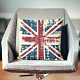 Yilooom 18 X 18 Inch Union Jack Pillow Cover, Industrial Pillow Cover, British Flag Pillow Cover, Vintage Pillow Cover, Union Jack Cushion Cover, Union Jack Decor, British Pillow Cover