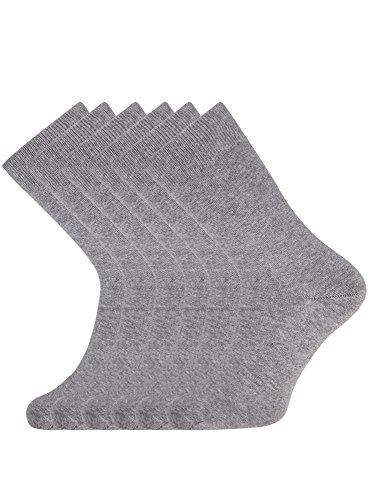 oodji Ultra Hombre Calcetines Altos (Pack de 6), Gris, ES 40-43 / one size