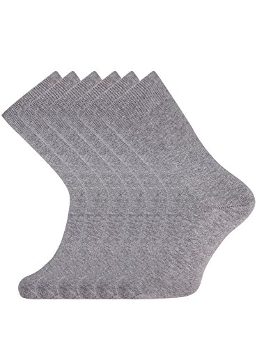 oodji Ultra Hombre Calcetines Altos (Pack de 6), Gris, ES 40-43 / one size
