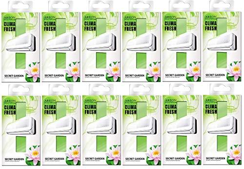 Areon Clima Fresh Ambientador Casa Jardín Secreto Aire Acondicionado Verde Original Perfume Hogar Salón Habitación Oficina Tienda Duradero Moderno Olor ( Secret Garden Pack de 12 )