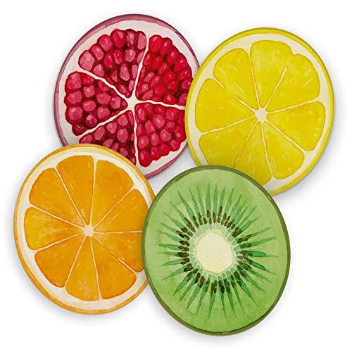itenga 40x Bierdeckel Untersetzer aus Pappe I Früchte I Granatapfel Kiwi Orange Zitrone I rund, Ø 10,7 cm I ideal als Untersetzer bei Anlässen und Festlichkeiten