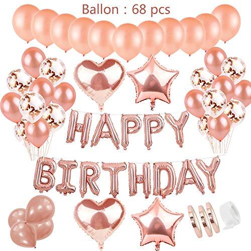 Decoración de Cumpleaños Oro Rosa Para Niñas: Letras Globos de Helio Happy Birthday Banner y 36pcs Látex Globos y15 Confeti Globos y 4 Star Heart Globos 1.3.5.16.18th.Años Para Hija Birthday Party
