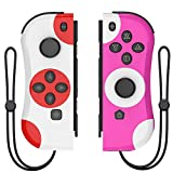 Joy-pad Controllers for Nintendo Switch,Left and Right Controllers with Strap, Replacement for Nintendo Switch Joycon (White and Pink)