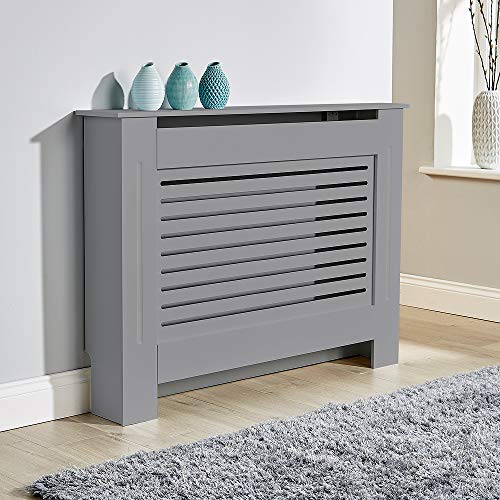 BFW Wooden Grey Radiator Cover with Grill, Medium