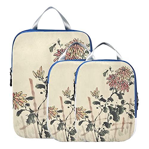 Bolsas organizadoras de equipaje Cultura china Pintura de tinta tradicional Flores Accesorios de...