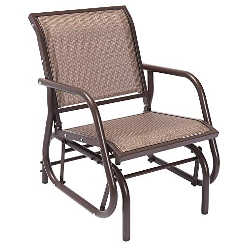 Superjare Outdoor Swing Glider Chair, Single Patio Bench, Garden Rocking Seating - Brown