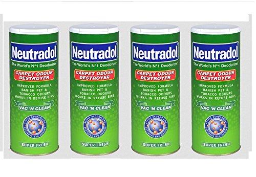 4x Neutradol Super Fresh Teppich Mülltonnen Odour Destroyer gereinigt Frische 350g