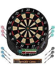 Ultrasport Diana electrónica Con y sin puertas, para un hasta 16 jugadores, pantalla LED, incluye línea de tiro, 12 dardos y 100 puntas, adecuada para fiestas, Unisex Adulto