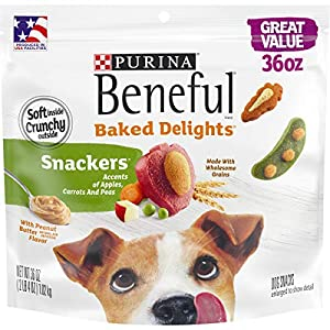 Purina Beneful Made in USA Facilities Dog Training Treats, Baked Delights Snackers – 36 oz. Pouch