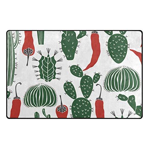 DEZIRO Tapis de Sol, Motif Cactus et Chili pour entrée de Maison, Tapis de Porte, Tapis antidérapant, Lavable, Polyester, 1, 31 x 20 inch