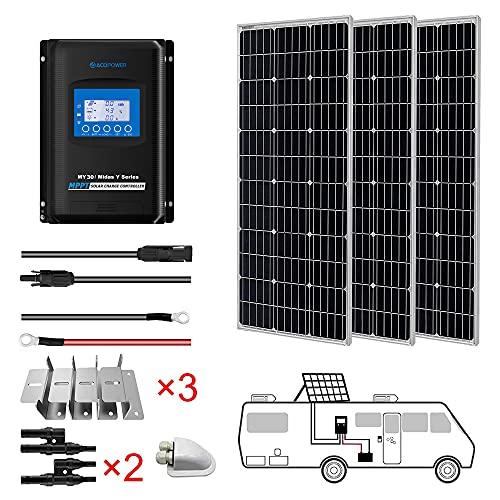 AcoPower 300W 30A 12/24V Monocrystalline RV Solar Panel Kit