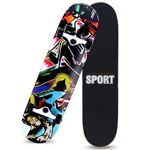 YZT QUEEN Skateboard, Graffiti-Skateboard Mit 8-Lagigem Ahorn-Deck-Cruiser, Komplettes Skateboard Für Erwachsene Und Junge Anfänger, T-Förmiges Werkzeug Mit ABEC-Hochgeschwindigkeitslager,F