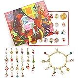 KATELUO Calendario de Adviento Niñas, Calendario de Cuenta Regresiva de Navidad con Pulsera, Collar, Colgante Bricolaje (Dorado)