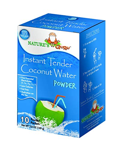 Nature's Guru Instant Tender Coconut Water Powder, Original Flavor, 10 Count Single Serve On-the-Go Drink Packets