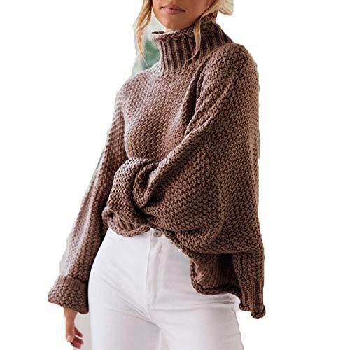 CoolStory Turtleneck - Jersey para Mujer, de Invierno, de Punto, Color Liso, Suelto marrón XL
