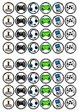 48 adornos comestibles para magdalenas con diseño de jugador #1 – discos planos/de pie para decoración de tartas