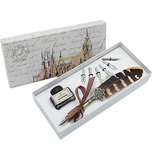 Juego de Bolígrafos de Caligrafía de Plumas Vintage con 6 Plumilla, Tinta Negra, para Bolígrafo para Arte, Escritura, Firma, Decoración, Regalo HO-Q-300