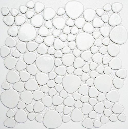 Mosaik Kiesel uni weiß glänzend Keramik Drops Pebbles Fliesenspiegel | 10 Mosaikmatten