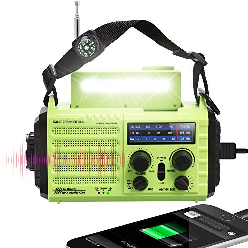 Updated 5000mAh 5-way Powered AM FM SW NOAA Weather Alert Radio, Portable Emergency Solar Hand Crank Radio with Phone Charger, SOS Alarm LED Flashlight Reading Lamp Compass for Camping Travelling Home