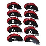Cubierta de Cabeza de Golf 10 Piezas Neopreno de Hierro Diseño de Cremallera y Etiqueta Numérica(1)