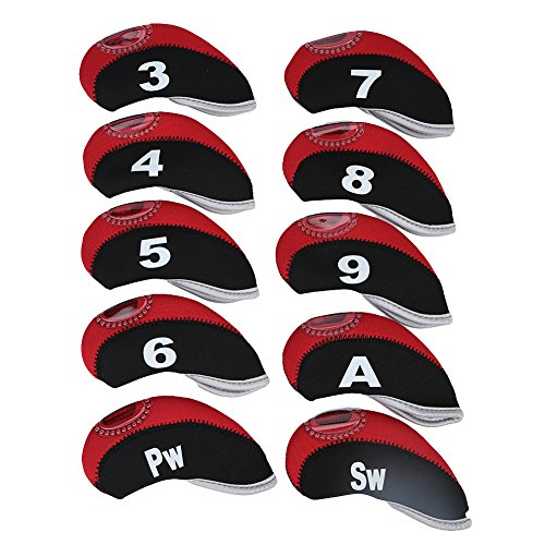 Golf Putter Cover, 10 Stück Neopren Eisen Putter Head Protector mit Zipper Deign und Nummer Tag Essen zu erkennen(1)