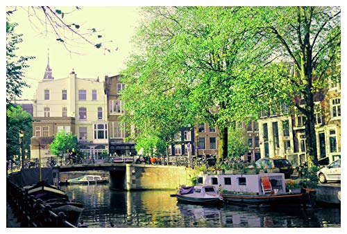 NevArt Print op canvas boot op Amsterdam kanaal (60 x 40 cm/24 x 16 inch) Veelkleurige wanddecoratie voor thuis en op kantoor