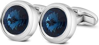 Mens Cufflinks Elegant Style Cuff Link Super Shiny Swarovski Navy Blue Crystal Circular Cufflinks with Gift Box