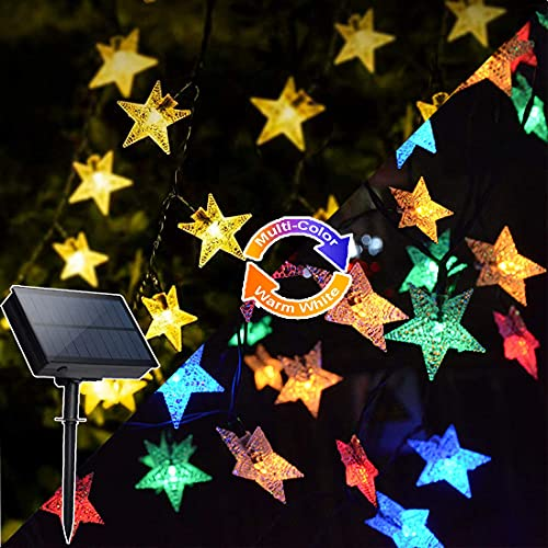 Solar Star String Lights Outdoor 2 in 1 Warm White Multicolor 33ft 100LEDs Fairy Lights with Remote 8 Mode Christmas Lights for Patio,Garden,Party,Holiday Christmas Tree Lights