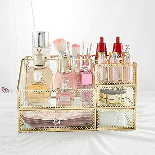 ZJJJGRASS Handgemaakte Make-up Organizer make-up borstels Houder Cosmetische opslag Vintage Spiegel Glas Make-up Vanity Dresser Decoratie Sieraden Doos