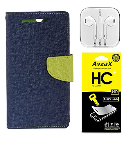 Avzax Flip Wallet Case Cover for HTC Desire 626 (Blue) + Clear Screen Guard Wired Earphone with Mike
