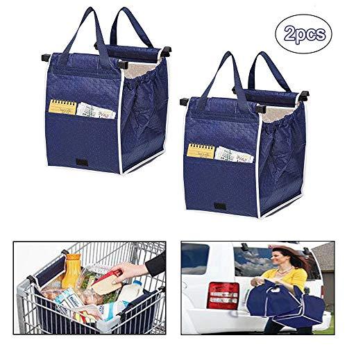 HSJCZMD Trolley Einkaufstasche für Supermarkt, Multifunktionsnahrungsmittel Sorting Non Woven Einkaufstasche, Kühltasche, waschbar Warenkorb Taschen,Blau